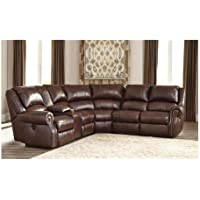 Ashley Collinsville U72100-40-57-19-77-46-41 6-Piece Reclining Sectional Sofa with Left Arm Facing Recliner Console with Storage Armless Recliner Wedge Armless Chair and Right Arm Facing