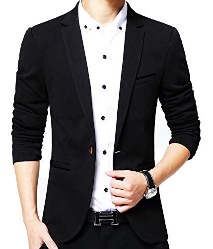 Mens Slim Fit Single One Button Blazer Jackets Black US Small/Label ()