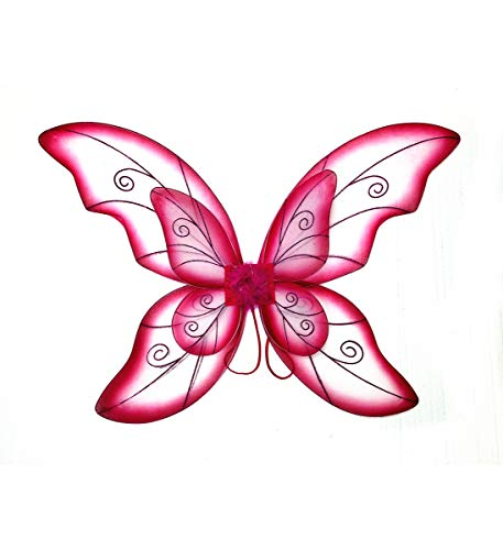 (Mozlly Double Layer Fuchsia Fairy Wings for Adults w/ Garterized Strap 23