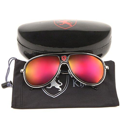 SUNGLASSES LUXE - KHAN - Fashion Sport Aviator Color Mirror Sunglasses (Black - Sunglasses Luxe