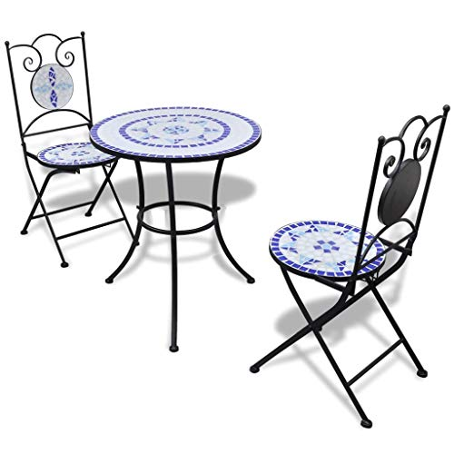 Tidyard 23.6 inch Bistro Table Mosaic with 2 Chairs Garden, Patio, or Balcon Weather-Resistant Blue and White Table Size: 23.6 inch x 27.6inch (Ø x H)