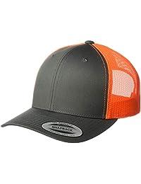 Yupoong Men's YP Classics Retro Trucker Cap 2-Tone, Charcoal/Neon Orange, One Size