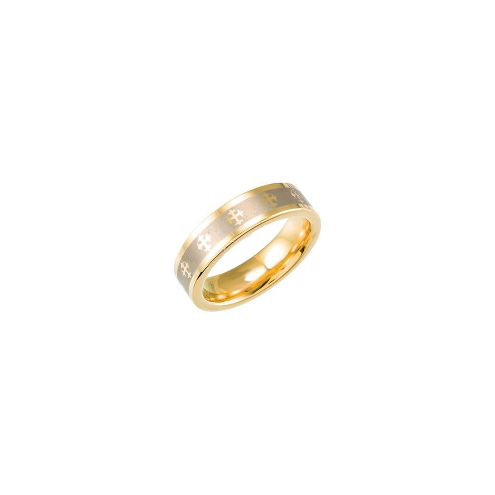 Ring Size 9 Security Jewelers Tungsten /& Gold Immersion Plated 6.3mm Flat Band with Lasered Crosses Size 9
