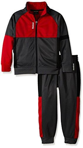Reebok Tricot Pant - Reebok Toddler Boys' Performance Zip Jacket and Pant Set, Ebony, 2T