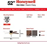 "Honeywell 50517-01 Quick-2-Hang Hugger Ceiling Fan, 52"" Dimmable LED Sunset Fixture, Easy Installation Cimmeron/Ironwood Blades, Oil Rubbed Bronze"