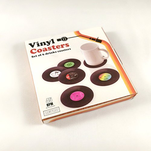 Vintage Vinyl Record Drink Plastic Coasters 6Pcs/Set Cup Coaster with Gift Box Tabletop Protection Prevents Furniture Damage Perfect Gift