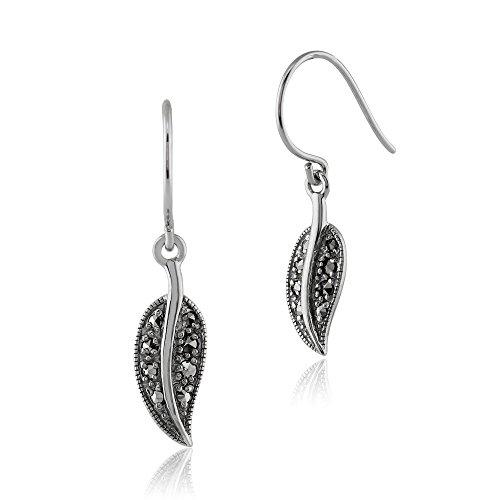 Gemondo Rhodium Plated Sterling Silver 0.20ct Marcasite Art Nouveau Leaf Drop Earrings