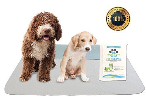 Washable Dog Training Pee Pad Size Large 33' x 35' Rewashable Reusable High Absorbent Waterproof All Purpose Premium Multi Floor Training Mat for Puppies, Dogs, Cats, Kitty, Baby, Bed, Travel