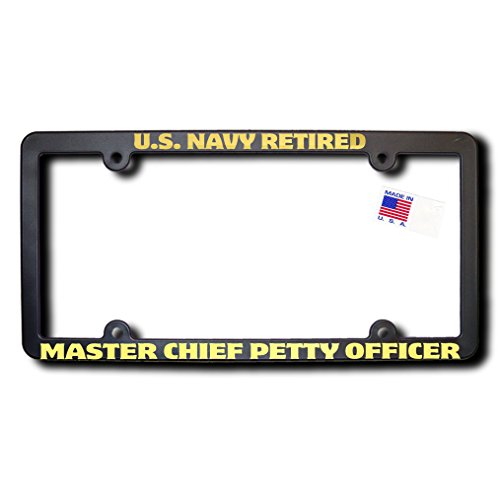 US NAVY Retired MASTER CHIEF PETTY OFFICER License Frame w/REFLECTIVE Gold Lettering ()