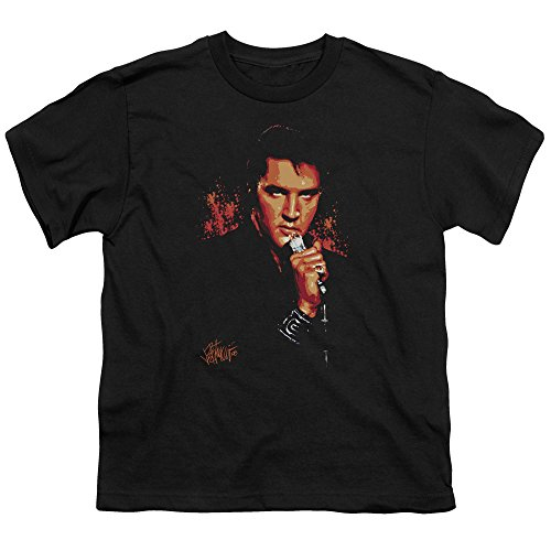 (Elvis Presley Trouble Unisex Youth T Shirt for Boys and Girls, Large Black)