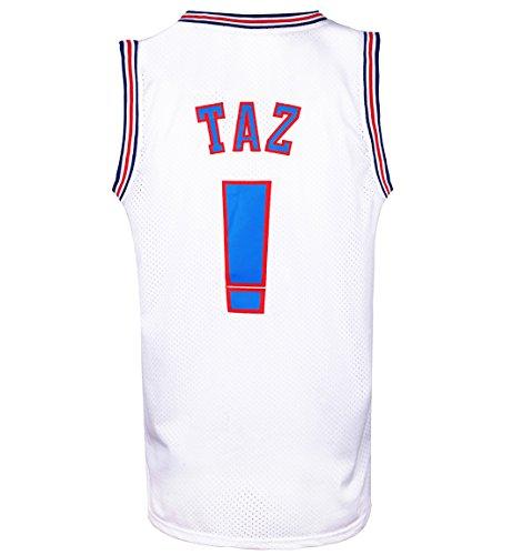 RAAVIN Taz !# Bunny Space Movie Jersey Mens Squad Basketball Jersey S-XXXL (White, XX-Large) -