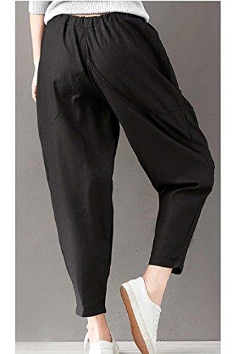 Elegante Pantaloni Harem Baggy Lunga Pants Swag Monocromo Libero nbsp; Pantaloni Pantaloni Tempo Lounayy Tendenza Vita Streetwear Elastica Nero Donne Pluderhose Modachic YXfxZdv