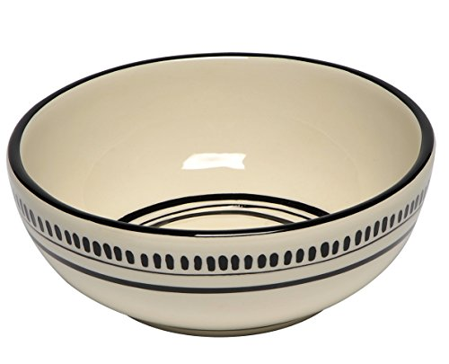 Thompson & Elm M. Bagwell Colors Ceramic Soup/Cereal Bowls (Set of 4), White/Black (Dishes Pottery Barn)