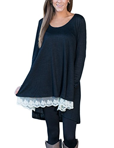 PARTY LADY Womens Tunic Lace Stitching Trim Tshirts Long Sleeve Top Size XL Black - Lace Trim Sweater