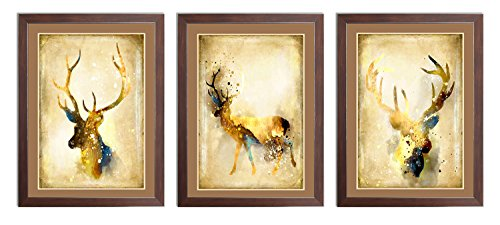 Ardemy Canvas Wall Painting Abstract Elk Triple Watercolor Animal Reindeer Giclee Prints Artwork, Vintage Framed Art 3 Panels Ready to Hang for Living Room Bedroom Dinning Room Home and Office (Reindeer Wall)