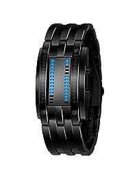 shot-in Luxury Men's Waterproof Stainless Steel Date Digital LED Bracelet Sport Watches (Black)