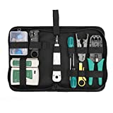 Network Tool Repair Kit, YEESON Ethernet LAN Network Cable Tester Computer Maintenance Coax Crimper Tool for RJ-45/11/12 Cat5/5e with Connector Accessories (Network Cable Tester)