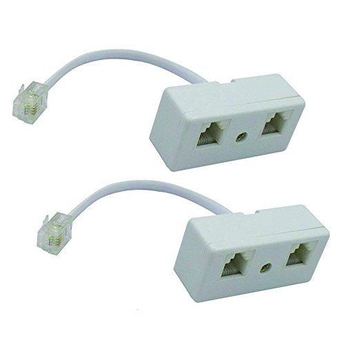 Yohii 2Pcs 2-Way RJ11 Telephone Splitter Male to 2 Female Converter Cable 6P4C Telephone Wall Adaptor and Separator for Landline