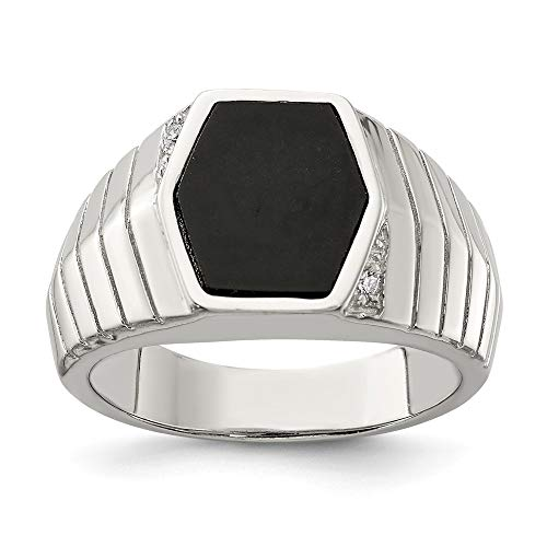 925 Sterling Silver Mens Cubic Zirconia Cz Black Onyx Band Ring Size 11.00 Man Fine Jewelry Gift For Dad Mens For Him from ICE CARATS