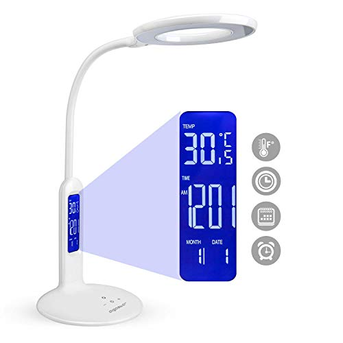 Aigostar Flexo 10KZP - Lampara de escritorio LED 7W, Pantalla LCD con calendario, temperatura, alarma. tactil, 360lm. 5 Niveles de intensidad, 2 modos de iluminacion luz blanca y calida. Color blanco