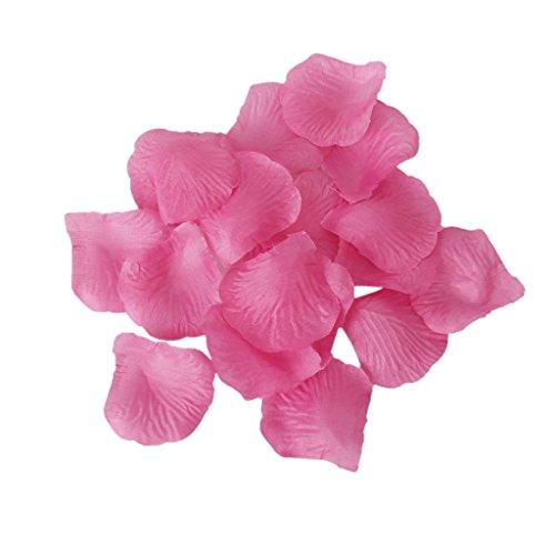 SODIAL(R) 100pcs Petales de Roses Artificielles Fleurs pour Decoration de Mariage - Rose fonce
