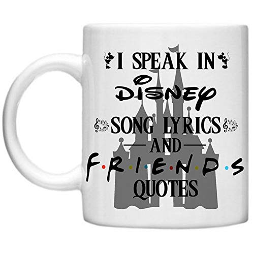 SkyLine902 - I Speak In Disney Song Lyrics And Friends Quotes Quirky TV Series Movies Mouse Ears Kissing Novelty Mug, 11oz Ceramic Coffee Novelty Mug/Cup