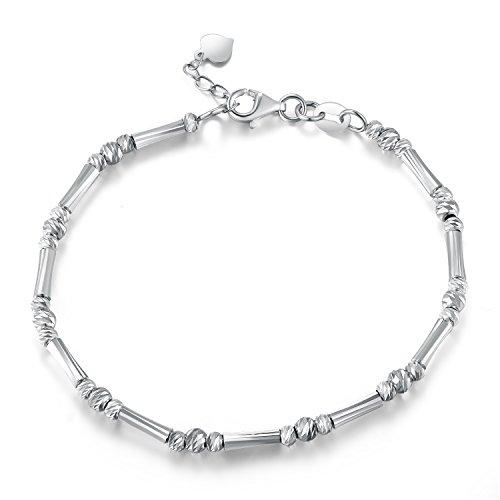 14ct 585Or blanc diamant coupe Segment de barre de perles et bracelet (17.5cm) Femme Bijoux Cadeau pour la Saint Valentin