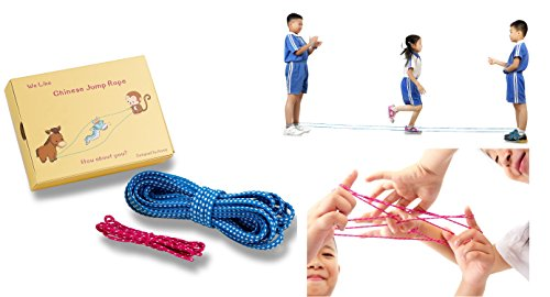 Naruirun Chinese Jump Rope 16 Ft Elastic Jump Ropes and Play Jump Rope Cats Cradle for Kids 5.2 Ft Cats Cradle Toy (Blue)