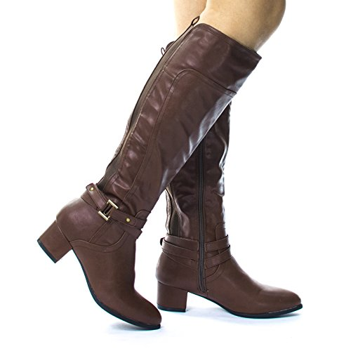 Belted Equestrian Riding Block Heel Boots by Blossom