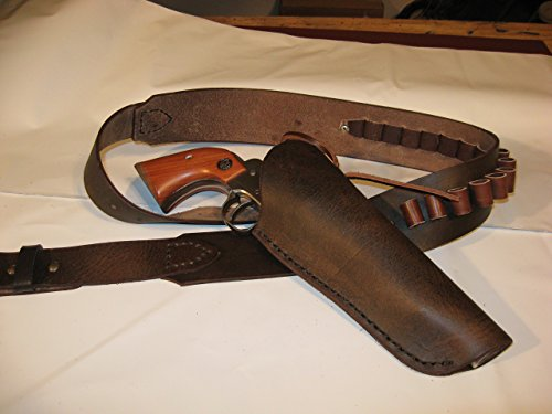 Cross Draw Leather Gun Holster & Gun Belt Hip Rig for 4-1/2'' to 9-1/2'' Barrel Single-Action or Double-Action by Triangle F Leatherworks