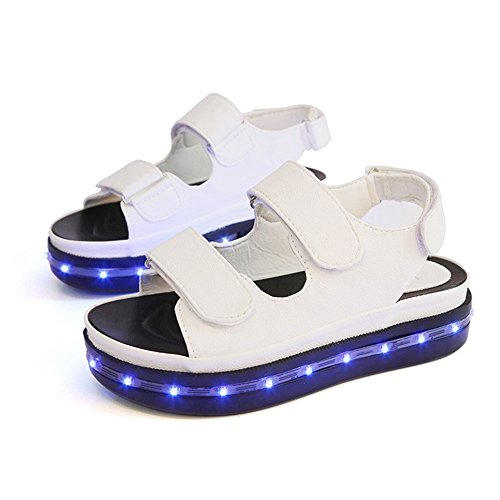 Girls' USB Fashion Sports Sandals Rechargeable LED Light Up Glow Flashing Luminous Sandals For Women (US9/EU40, White) -