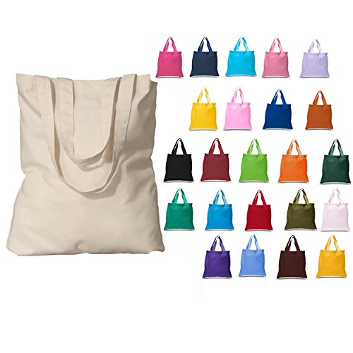 48 Pack (4 Dozen) Wholesale Blank Cotton Tote Bags Bulk Reusable Cotton Reusable Bags Shopping Bags Grocery Bags Promotional Tote Bags Craft Party Supply Bags Customizable Tote Bags (Mix Assorted)