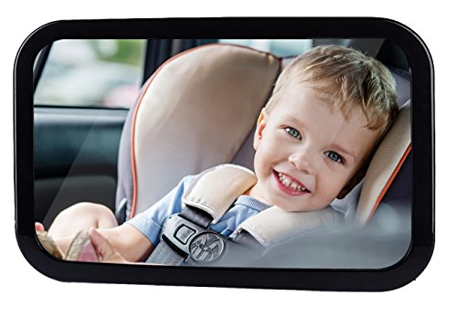 Bixon Baby Car Mirror, Rear Facing, Convex Shatterproof Back-Seat Mirror, Easy Fitting to Keep Baby In Sight, Clearer View With Allowed Rotation