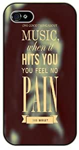 iPhone 5 / 5s Bob Marley Quotes - One good thing about music, when it hits you, you feel no pain - black plastic case / Inspirational and Motivational