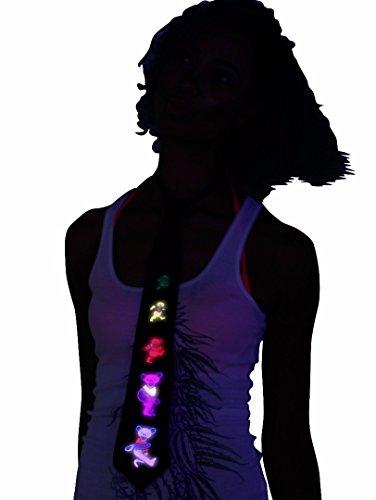 Cravatta Grateful Dead con Luci LED e Attivazione Sonora, Abbigliamento Rave, Cravatta Fosforescente per Halloween e Festival di Musica