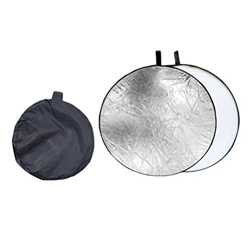 LEDMOMO 80CM 2 in 1 Light Round Reflector Portable Light Reflector Collapsible Photography Reflector (Silver and White)