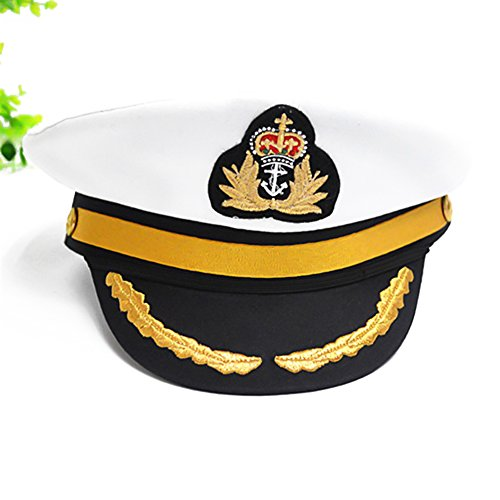 [HSL Yacht Boat Sailor Captain Costume Hat Cap Navy Marine Admiral for Children-White] (Ship Captain Costumes)