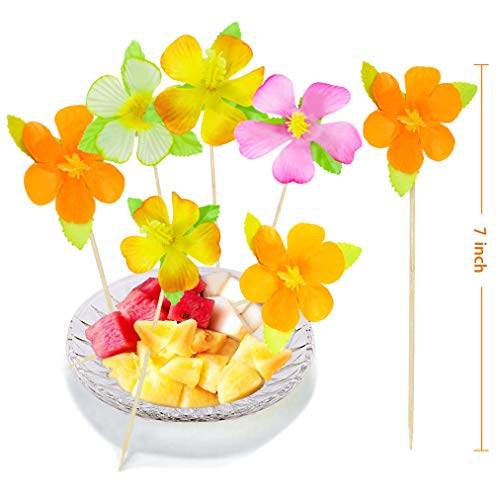 BOSHENG Lot of 144 Cute Flower Snack Cocktail Food Picks Appetizer Bamboo Sticks