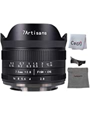 7artisans 7.5mm F2.8 II Fisheye Lens APS-C 190° Ultra Wide Angle Manual Fixed Lens, Compatible with Olympus and Panasonic M4/3 Micro 4/3 Mount Cameras