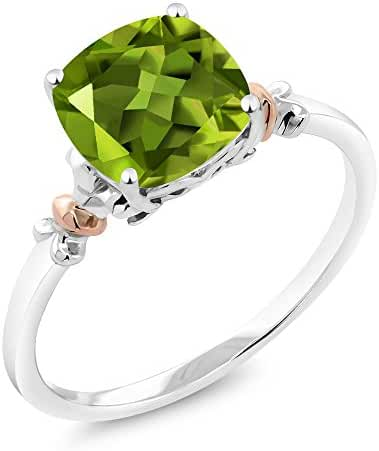 925 Sterling Silver and 10K Rose Gold Ring Green Peridot (2.45 cttw, 8x8mm Cushion)