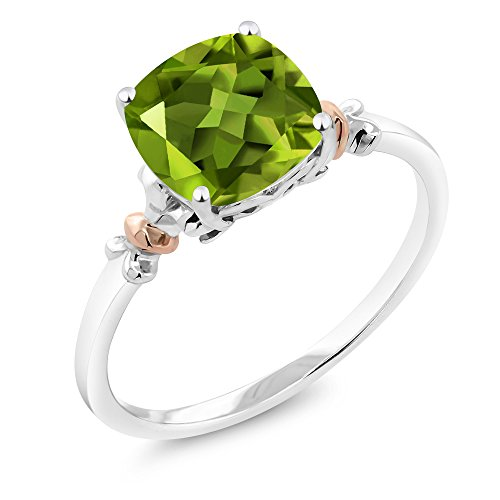 925 Sterling Silver and 10K Rose Gold Ring Green Peridot 2.45 cttw, 8x8mm Cushion (Size (Olive Green Cocktail Ring)