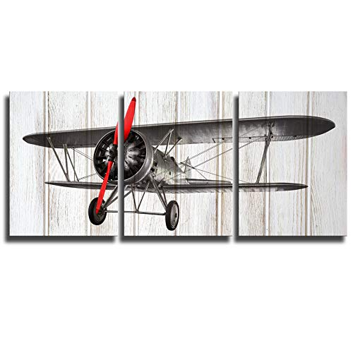 KLVOS 3 Piece Airplane Wall Art Decor for Boy Room on Wooden Background Vintage Living Room Decor Gallery Wrap Framed and Ready to Hang 12inch x 16inch x 3 Panels