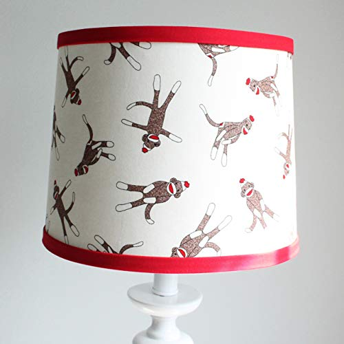 Red and Brown Sock Monkey Nursery Lamp Shade