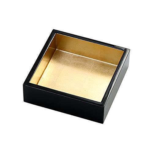 Caspari Lacquer Cocktail Napkin Holder in Black & Gold, 1 Each