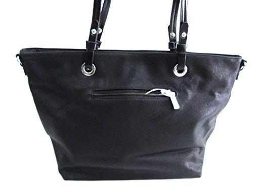 Borsa donna modello shopping a spalla Melas linea laser 865-1 nero