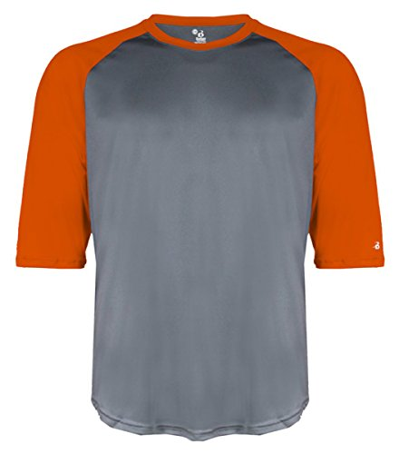 Badger Baseball Jersey - Badger Adult Raglan-Sleeve Baseball Undershirt (4133) - Graphite/Burnt Orange BD4133 XL