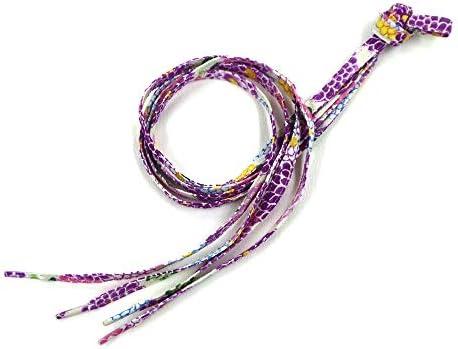 和柄 ちりめん 靴ひも 117cm (彩 紫)
