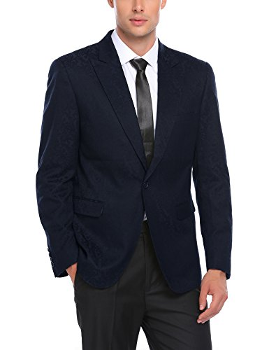 COOFANDY Men Fashion Floral Print Party Dinner Dress Suit Jacket Wedding Blazer ()