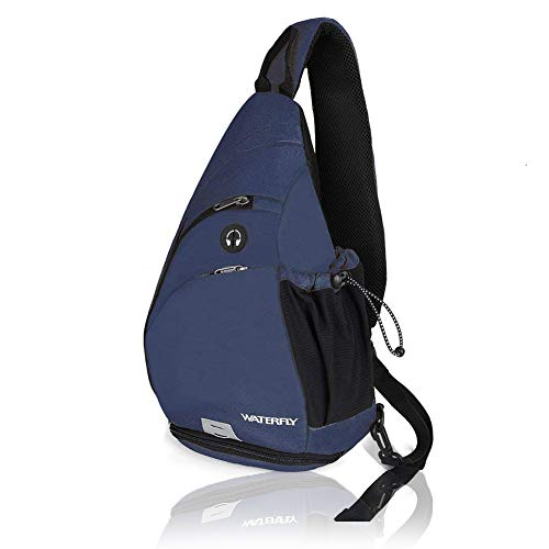 Waterfly Sling Backpack, Sling Bag Small Crossbody Daypack Casual Canvas Backpack Chest Bag Rucksack for Men & Women Outdoor Cycling Hiking Travel (Blue)
