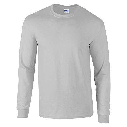 sleeve Cotton Grigio Tee shirt Uomo Ultra Grey Gildan T L Sport FW7gg4
